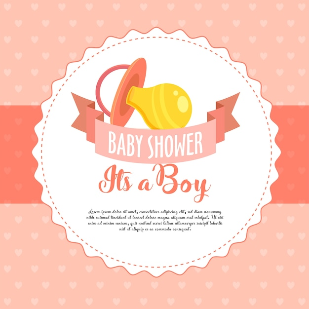 Baby shower invita biglietto di auguri / invito Vettore Premium