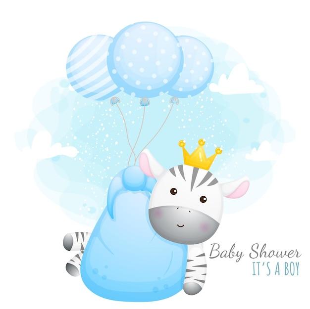 Baby shower è un maschio. zebra bambino sveglio con palloncini Vettore Premium