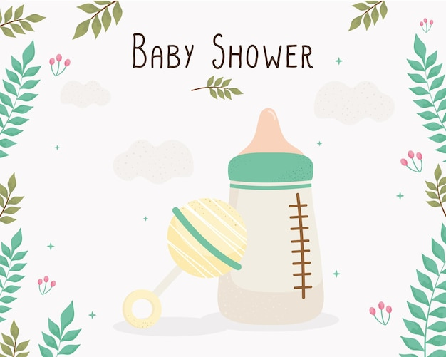 Scheda dell'iscrizione dell'acquazzone di bambino con la bottiglia di latte e l'illustrazione del campanello di tintinnio