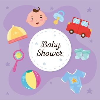 Lettering baby shower con set di icone intorno al disegno di illustrazione