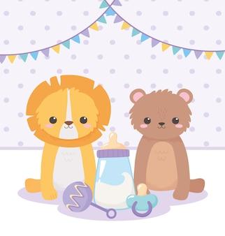 Baby shower, piccolo orso leone con ciuccio sonaglio cartone animato, celebrazione benvenuto neonato