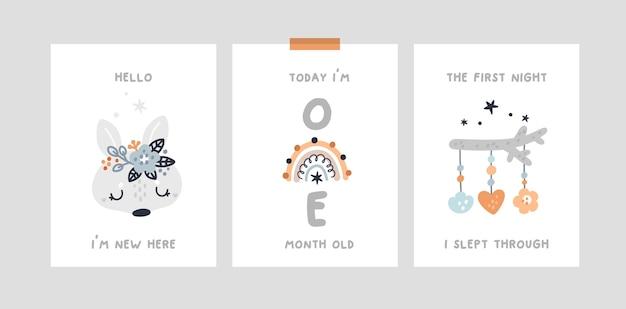 Baby shower, carte cardine con coniglietto animale, arcobaleno. carta di anniversario del mese della scuola materna