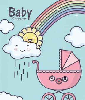 Baby shower carrozzina rosa rainbowm