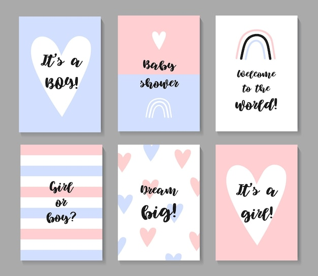 Set di poster per baby shower invito vettoriale con illustrazioni carine