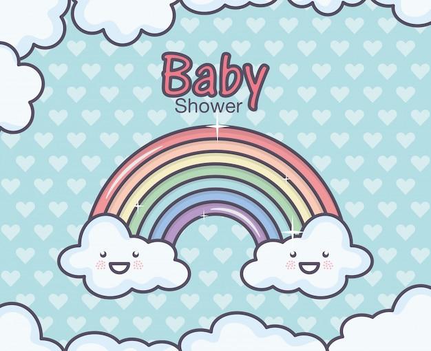 Fondo dei cuori del fumetto dell'arcobaleno della doccia di bambino Vettore Premium