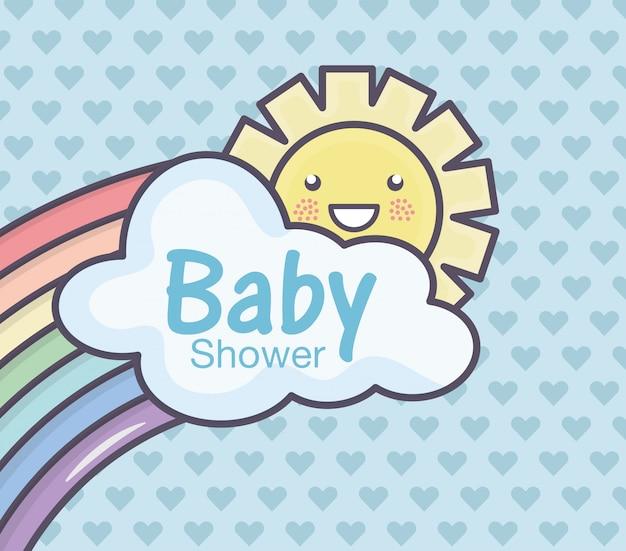 Carta dei cuori del sole della nuvola dell'arcobaleno della doccia di bambino