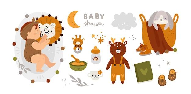 Baby shower set con bambina o bambino Vettore Premium