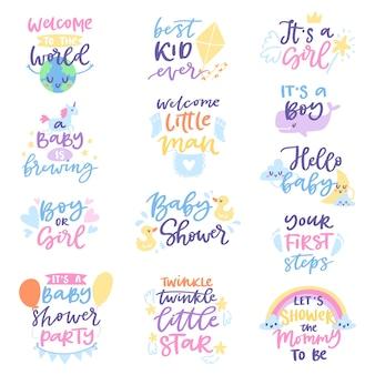 Baby shower segno ragazzo o ragazza neonato nascita festa lettering testo con lettere di calligrafia o carattere testuale per babyshower invito carta illustrazione per tipografia isolato su bianco Vettore Premium