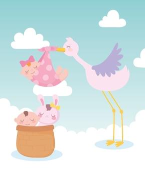 Baby shower, cicogna con bambina e ragazzino e coniglio nel cestino, celebrazione benvenuto neonato