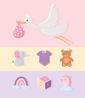 Baby shower, cicogna con coperta, unicorno orso elefante arcobaleno, icone di raccolta