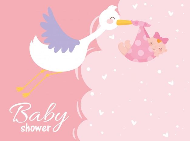 Acquazzone di bambino, cicogna con carta di celebrazione neonato benvenuto bambina