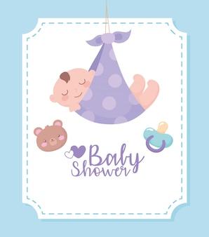 Etichetta dell'acquazzone di bambino, etichetta con il ragazzino in coperta