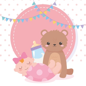 Baby shower, orsacchiotto bambina e bottiglia di latte, celebrazione benvenuto neonato