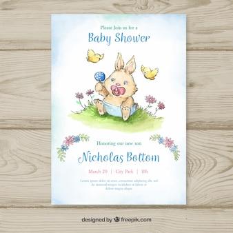 Modello di doccia di bambino con coniglio disegnato a mano