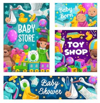 Baby shower, negozio di giocattoli, fumetto del negozio per bambini