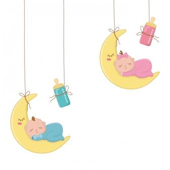 Bambino che dorme sull'illustrazione della luna Vettore Premium