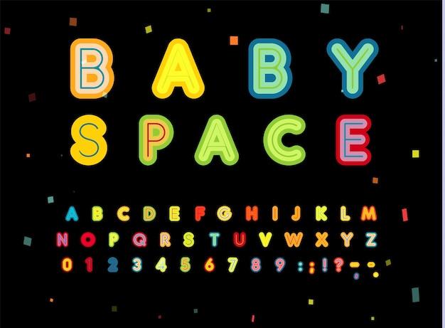 Set di lettere e numeri dello spazio del bambino. stile audace per bambini, alfabeto latino di vettore del titolo. font per eventi per bambini, compleanno, gioco, sala giochi, logo, monogramma e poster. progettazione di tipografia.