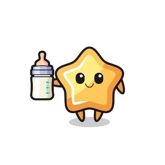 Personaggio dei cartoni animati stella bambino con bottiglia di latte, design in stile carino per t-shirt, adesivo, elemento logo