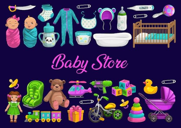 Negozio di neonati o negozio di giocattoli, regali e cure per bambini appena nati