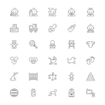 Set di icone di linea di roba per bambini
