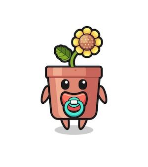 Personaggio dei cartoni animati di vaso di girasole per bambini con ciuccio, design in stile carino per maglietta, adesivo, elemento logo