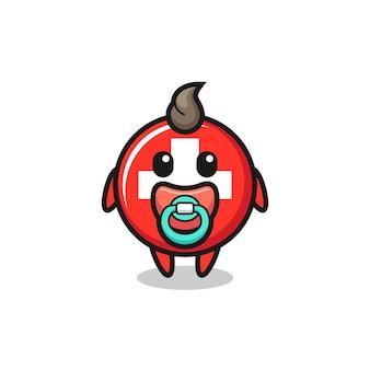 Personaggio dei cartoni animati del distintivo della bandiera svizzera del bambino con il ciuccio, design in stile carino per t-shirt, adesivo, elemento logo