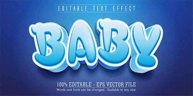 Testo del bambino, effetto di testo modificabile in stile cartone animato