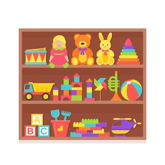 Giocattolo per bambini sullo scaffale. impostare i giocattoli per bambini sulla cremagliera di legno. roba per bambini isolato in design piatto.