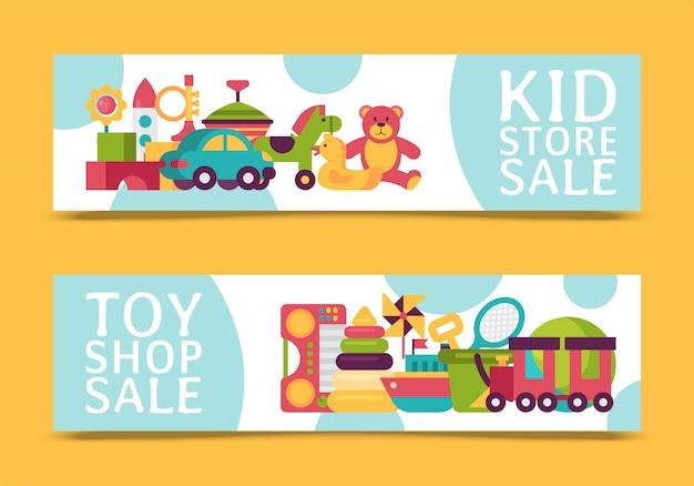 Insegna del negozio di giocattoli del bambino nello stile piano del fumetto. il mercato dei giochi per bambini include orsacchiotto, piramide, bambola