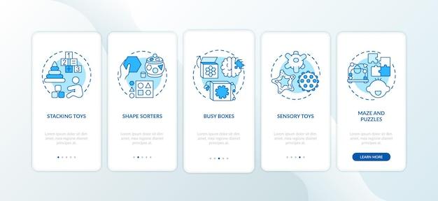 Schermata della pagina dell'app mobile di onboarding blu per giocattoli per bambini con concetti