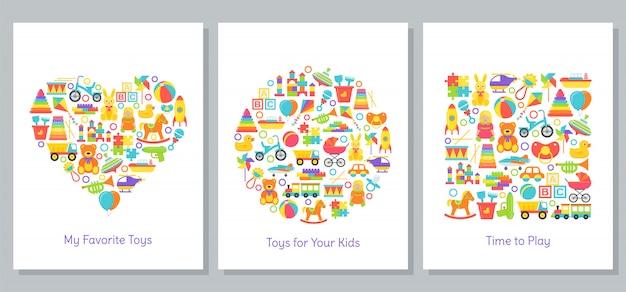 Carta di giocattoli per bambini. illustrazione vettoriale in design piatto.