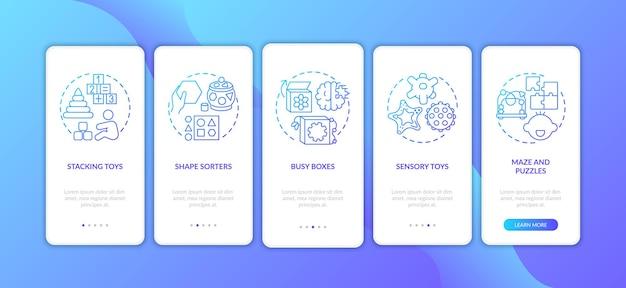 Schermata della pagina dell'app mobile di onboarding blu scuro con giocattoli per bambini con concetti