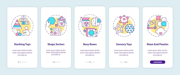 Schermata della pagina dell'app mobile di onboarding dei giocattoli per bambini con concetti