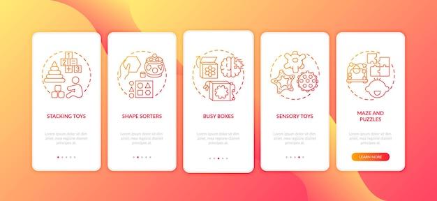 Schermata della pagina dell'app mobile di onboarding rossa dei giocattoli per bambini con illustrazioni di concetti