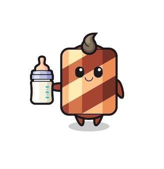 Personaggio dei cartoni animati di rotolo di wafer per bambini con bottiglia di latte, design in stile carino per maglietta, adesivo, elemento logo