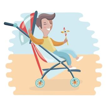 Bambino con passeggino