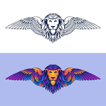 Babylon lion illustrazione logo