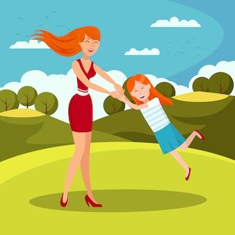 Babysitter con child flat vector illustration