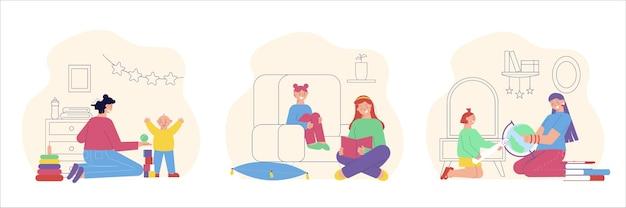 Attività educative animazione baby sitter 3 composizioni flat con tata che legge giocando esplorando la geografia con i bambini