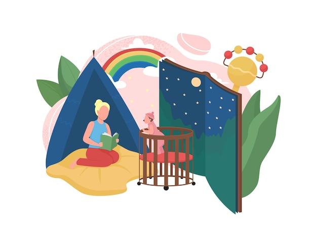 Baby sitter piatto concetto illustrazione
