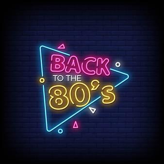 Torna al testo degli anni '80 in stile insegna al neon
