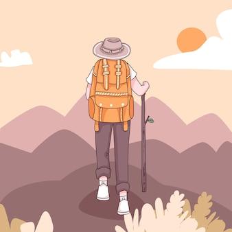 La parte posteriore dell'uomo di avventura con lo zaino per l'escursionismo e l'arrampicata nel personaggio dei cartoni animati, illustrazione piatta