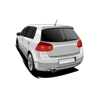 Illustrazione di vista auto posteriore