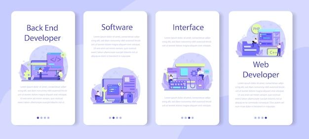 Set di banner per applicazioni mobili di sviluppo back-end.