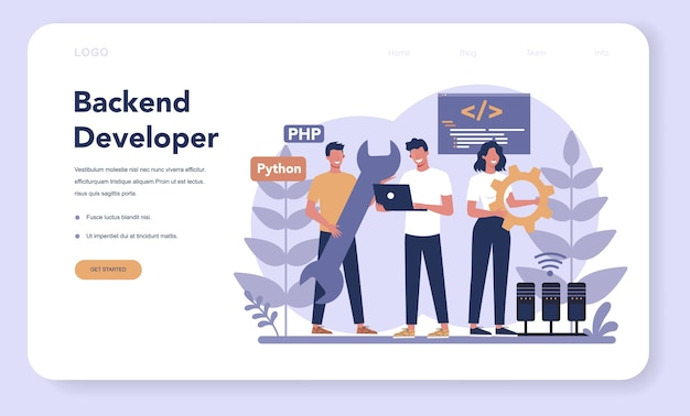Banner web di sviluppo back-end o pagina di destinazione. processo di sviluppo del software. miglioramento del design dell'interfaccia del sito web. programmazione e codifica. professione it.