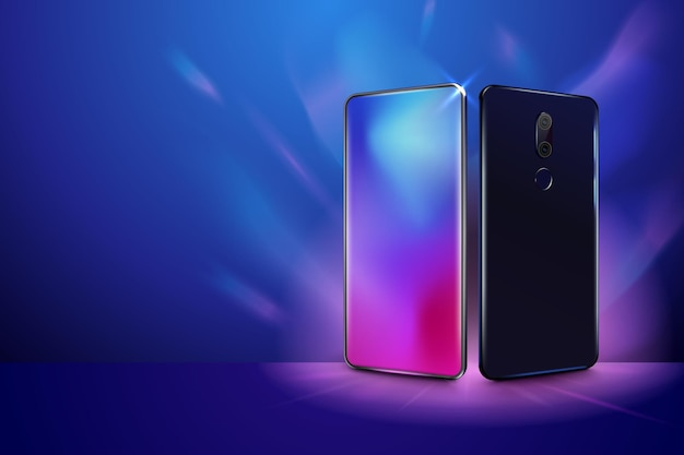Vista posteriore e anteriore dello smartphone telefono cellulare realistico in diverse viste