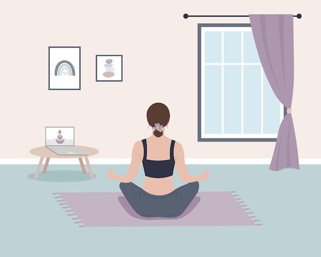 Indietro meditazione donna casa allenamento yoga pratica online posizione del loto