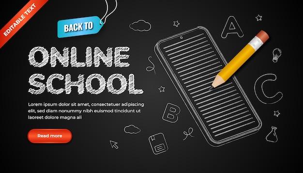 Torna allo sfondo della scuola online con effetto di testo modificabile e icona in stile gesso sulla lavagna. illustrazione di matita 3d.