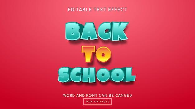 Torna a scuola modello di effetto testo modificabile 3d