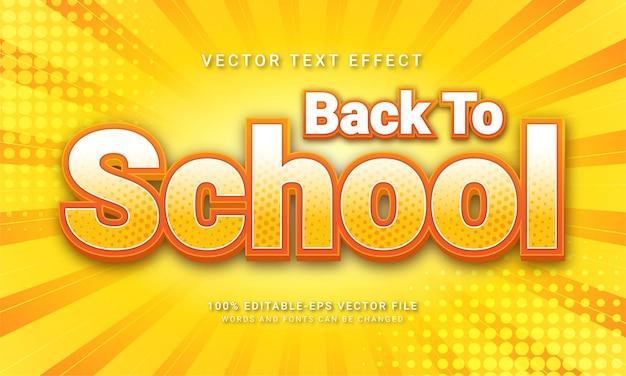 Ritorno a scuola 3d stile di testo effetto a tema educazione